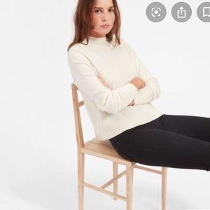 Everlane ivory cashmere mockneck sweater
